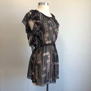 Dresses & Skirts - 🔴 Boho Ruffled Print Low Back Sheer Dress